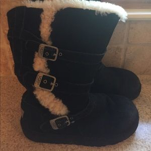 Ugg authentic girls black boots with buckles!