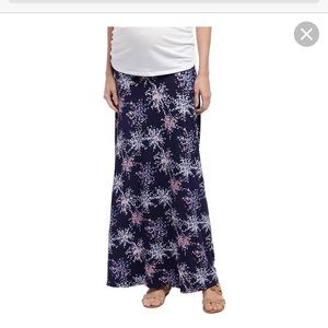 Fold over belly maxi skirt