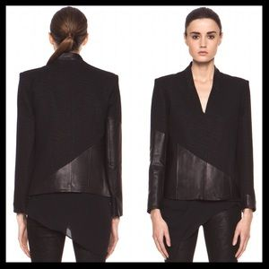 helmut lang // asymmetrical leather warped jacket