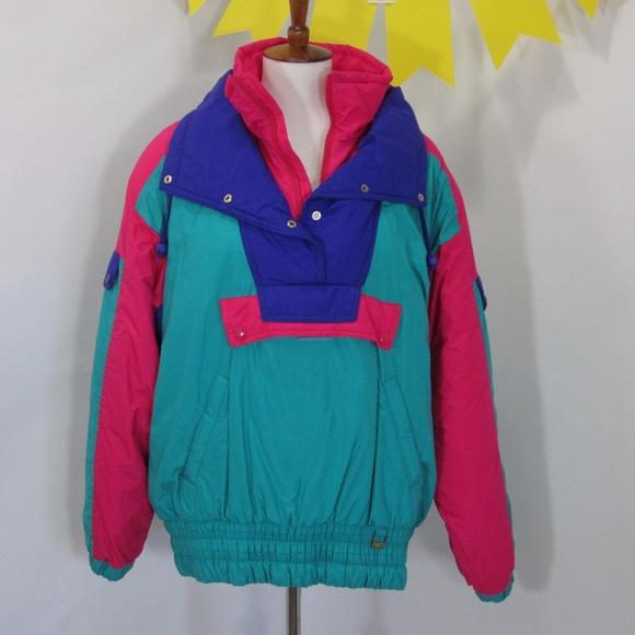 5b95c467e Vintage 90s Neon Color Block Puffer Ski Jacket