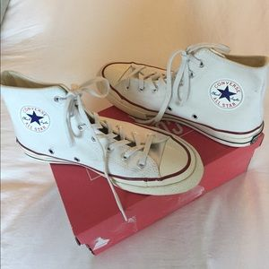 Converse White Lace Up High Tops