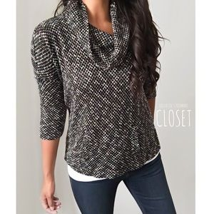 Loft Front Pouch Tweed Cowl Neck Knit Top