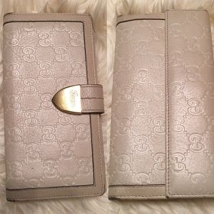 Gucci white leather wallet