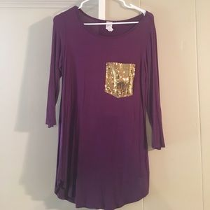 3/4 sleeve shirt with sequins