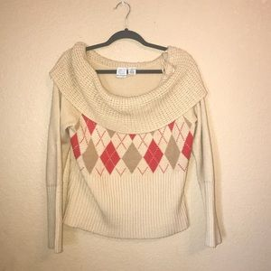 Edge brand wheat argyle off the shoulder sweater