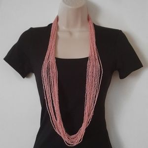 Charming Charlie Multi Strand Pink Beaded Necklace