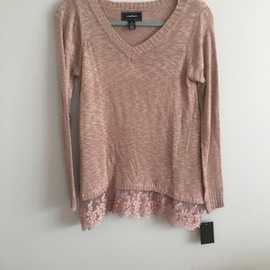 Blush pink and lace detailed sweater