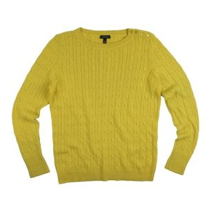 TALBOTS Golden Mustard Shoulder Button Sweater