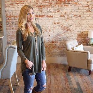 Olive V Neck Long Sleeve Modal Tunic
