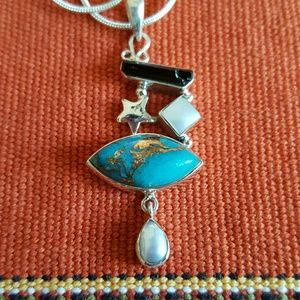 Copper Blue Turquoise Story Necklace