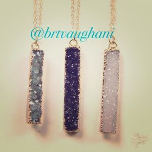 Coming soon 10/3!NWT gray Druzy bar necklace