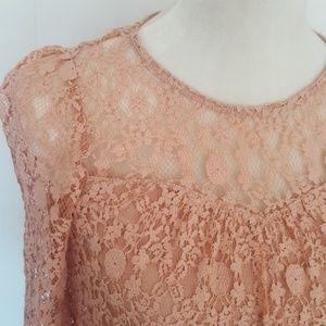 Monteau Tops - Pink lace shirt