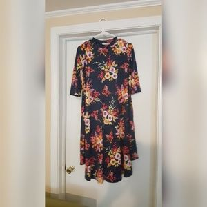 boutique navy and floral swing dress