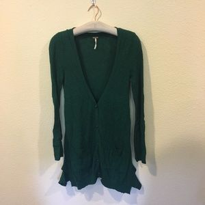 Free People button up green cardigan