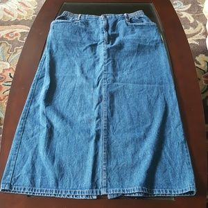 Vtg Long Denim Skirt