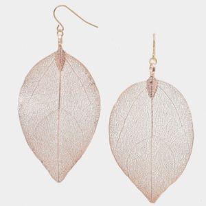 Rose Gold Real Leaf Skeleton Earrings