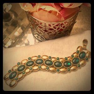 Banana Republic Gold tone Bracelet w/ Green stones