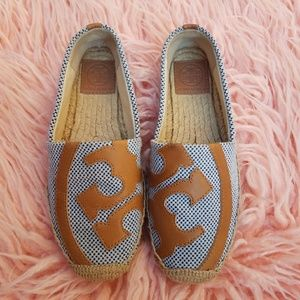 Tory Burch Canvas and Leather Espadrille flats