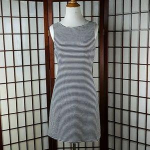 THEORY STRIPED A-LINE DRESS