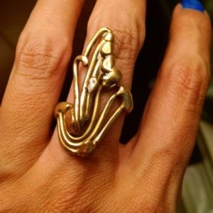 Huge 1960s Gold Brass Modernist Vintage Ring 8.5