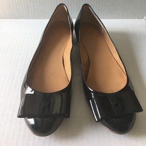J.Crew black patent leather bow flats