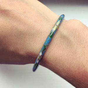 Vintage blue enamel painted floral bangle bracelet