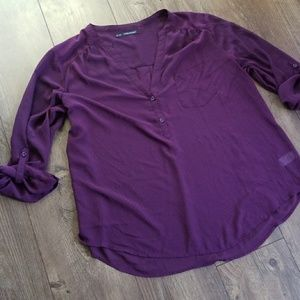 Maurice's plus size 3 purple sheer tunic top
