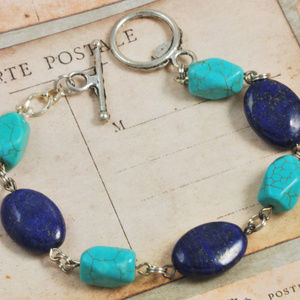 Jewelry - Blue Lapis and Howalite Gemstone Bracelet