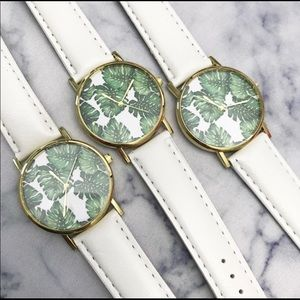 Palm Tree Leaves White and Gold Watch