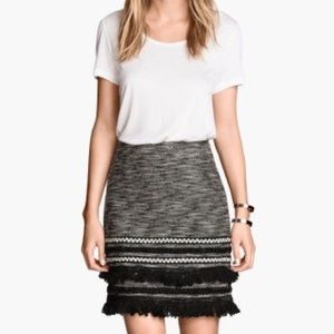 H&M Black and White Tweed Fringe Bottom Skirt