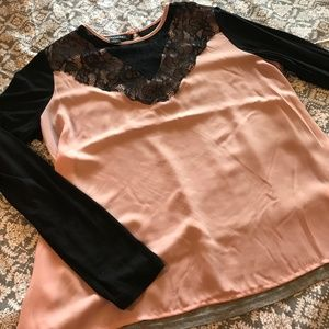 Metaphor Pink & Black Lace Accent Long Sleeve Top
