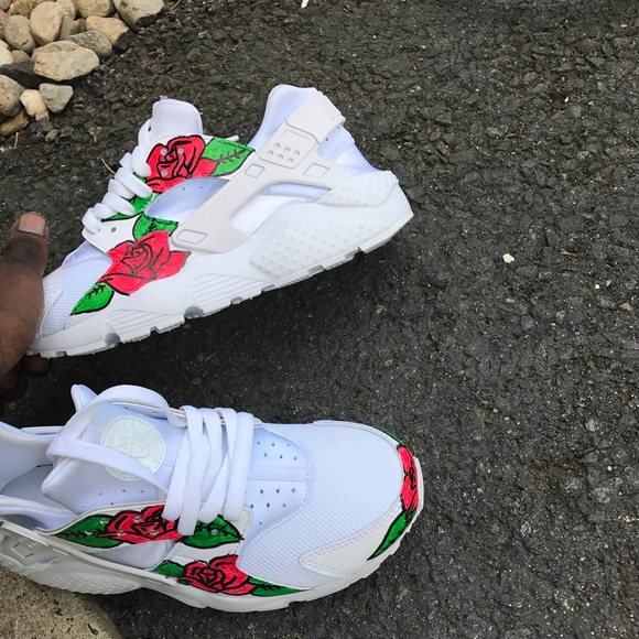 Custom White Huarache Flower Roses Customized