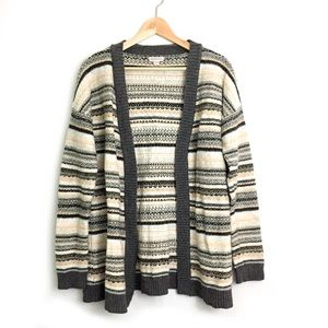 Merona womans long cardigan gray knitted striped