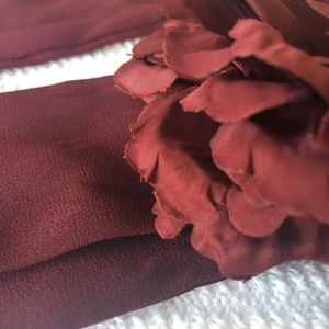 SILK NECK TIE FLOWER BURGUNDY BEAUTY SO CHANEL