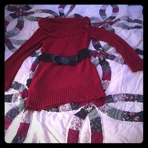 Cute Red belted sweater Tunic /Medium/ EUC