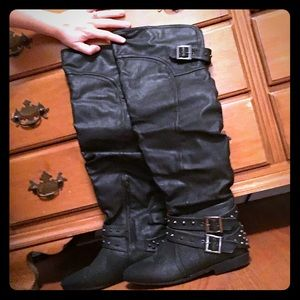 Tall studded boots
