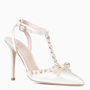 """White Kate Spade """"Lydia"""" Satin Bridal Heels"""