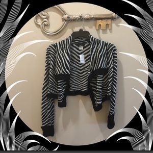 RUE 21 Zebra Print Cropped Long Sleeve Cardigan