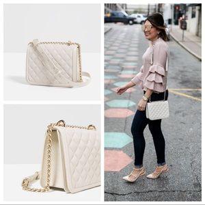 Zara White Quilted Crossbody - like new!!