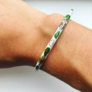 Vintage white enamel floral bangle bracelet