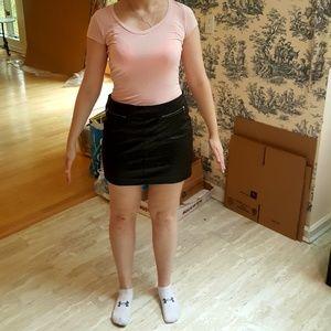 Black Pattern Pleather Mini Skirt Gold Zippers
