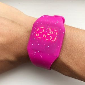 Pink sparkly rubber LED watch w/ light-up display
