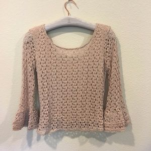 Free People light brown crochet bell sleeve top