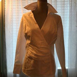 Talbots's Sz 14WP White Blouse  Bling Cuff Button