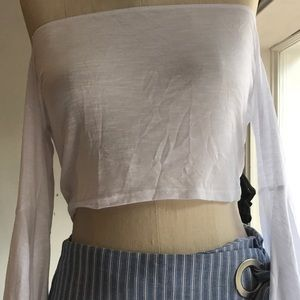 LF Emma and Sam WHITE BELL SLEEVE CROP TOP