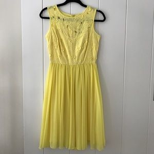 Reiss Yellow Floral Chiffon Dress