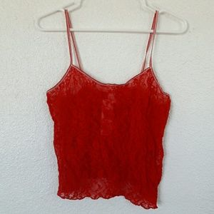 DKNY Red Lace Top