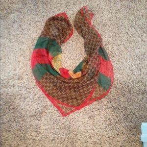 Gucci brown square silk scarf