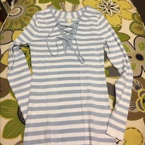 NWOT Cato light blue and white top Size XS