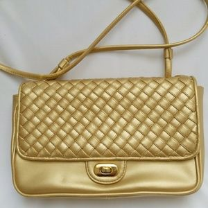 Jennifer Moore faux leather gold back